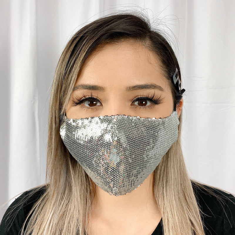 Sequins Face UniSex Mask Cover Accessory Adjustable , Reuseable Washable Silver color