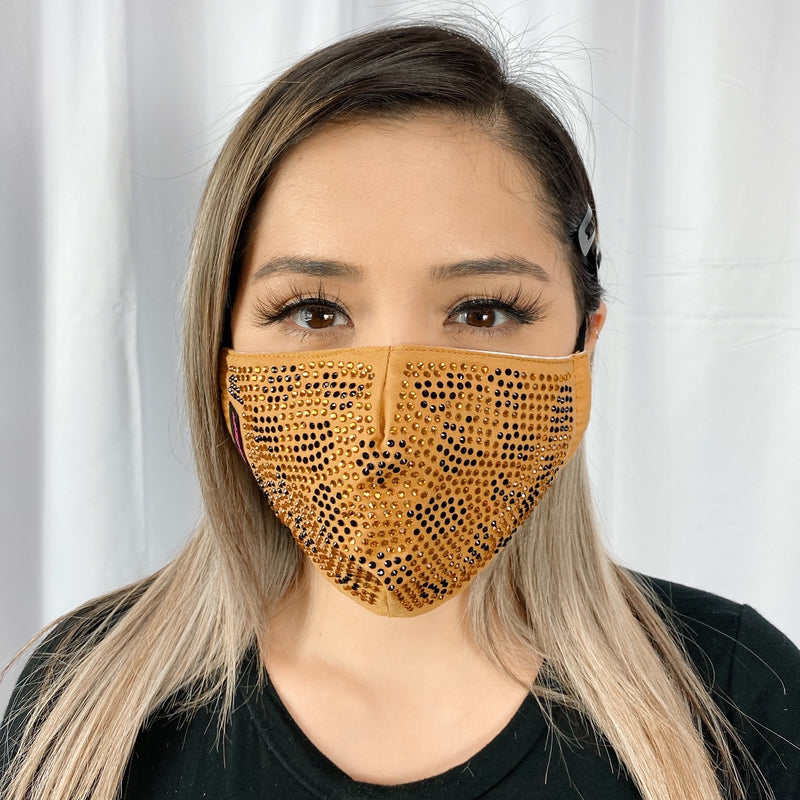 RhineStones UniSex Face Mask Cover Accessory Adjustable , Reuseable Washable in Leopard Gold-design