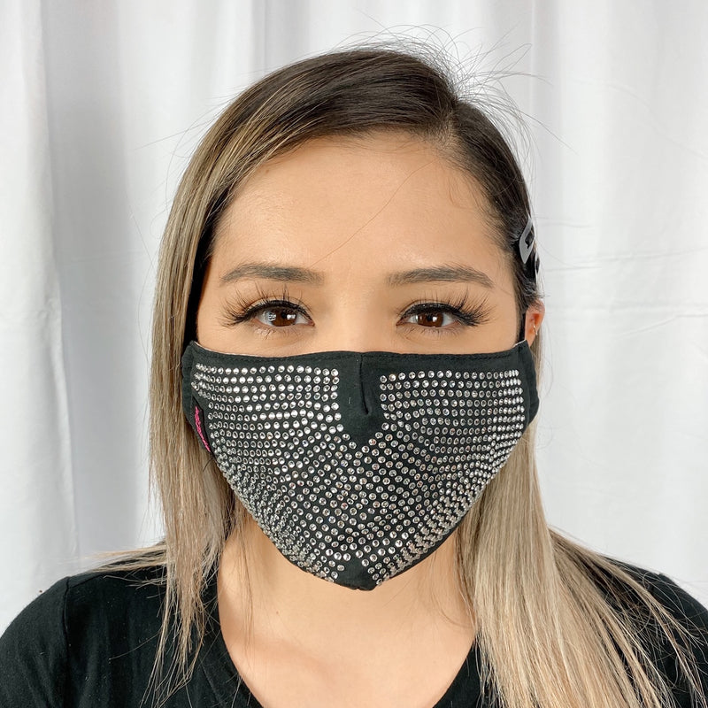 RhineStones UniSex Face Mask Cover Accessory Adjustable , Reuseable Washable in Black/Silver Metallic