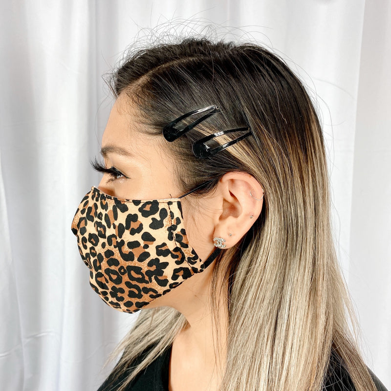 UniSex Face Mask Cover Accessory Adjustable , Reuseable Washable in Leopard color