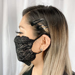 Embroidered UniSex Face Mask Cover Accessory Adjustable , Reuseable Washable in Champagne/Black Lace