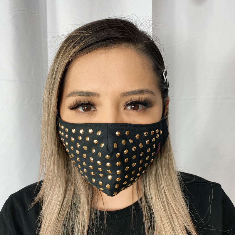 UniSex Face Mask Cover Accessory Adjustable , Reuseable Washable in Black/Gold Studs