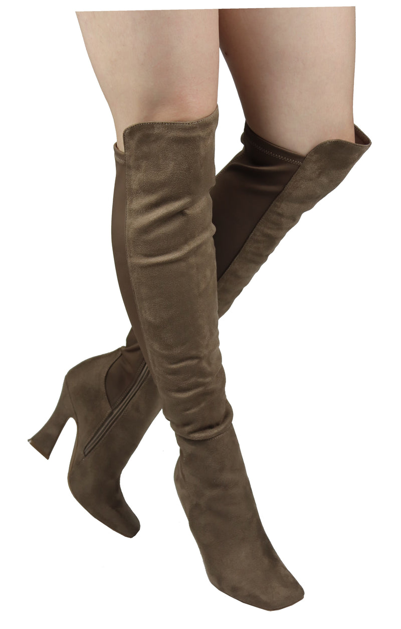 SASSY-05 SQUARE TOE KNEE HIGH SCULPTURED HEEL BOOTS
