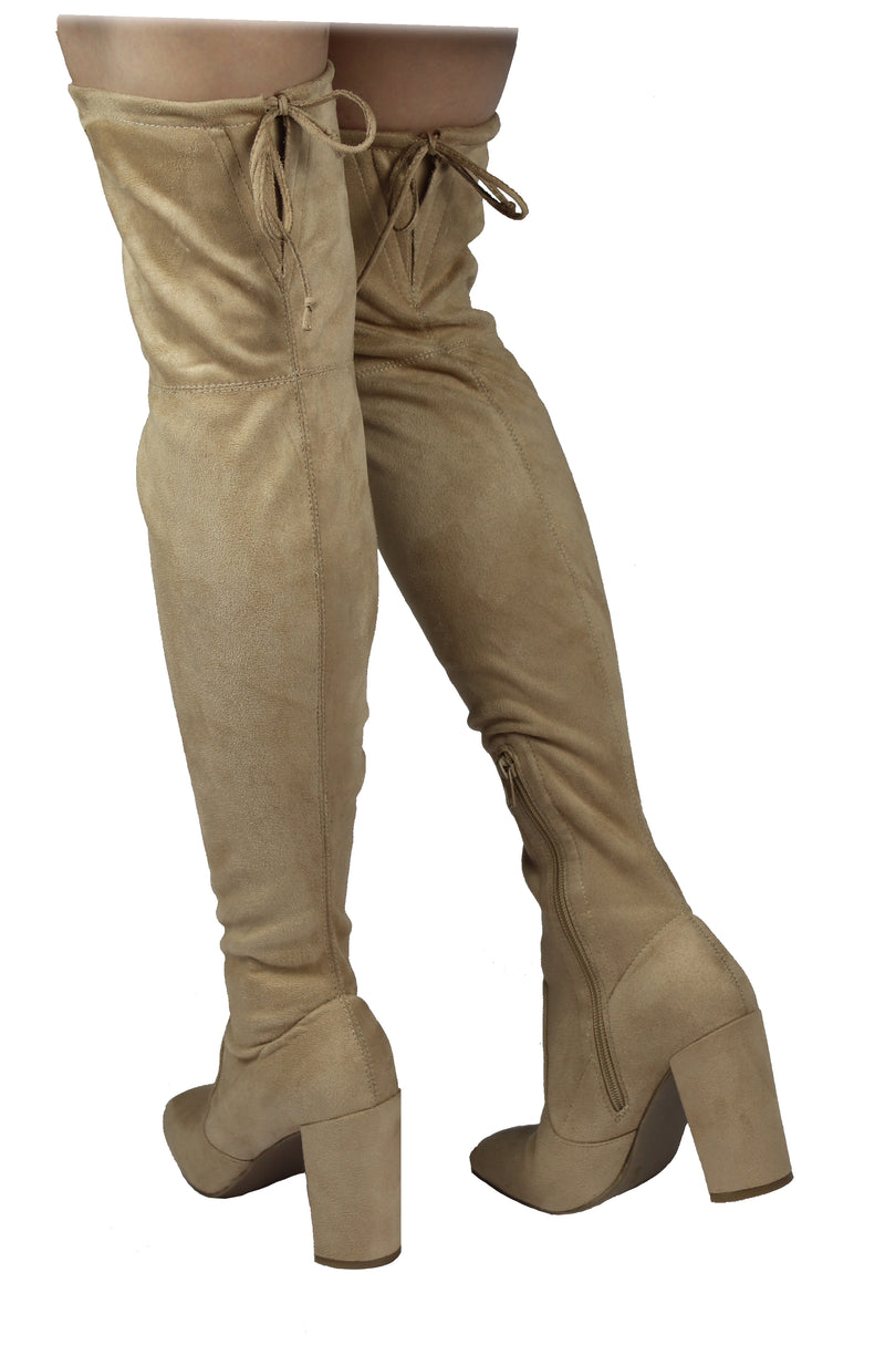 SLAY-08 SQUARE TOE TIGHT HIGH BOOTS