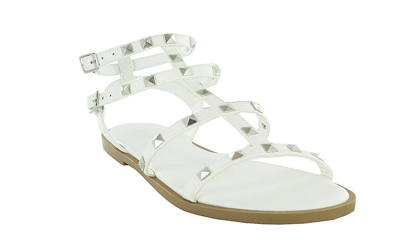 SNOW-29 OPEN TOE STUDDED DECOR ANKLE STRAP SANDALS