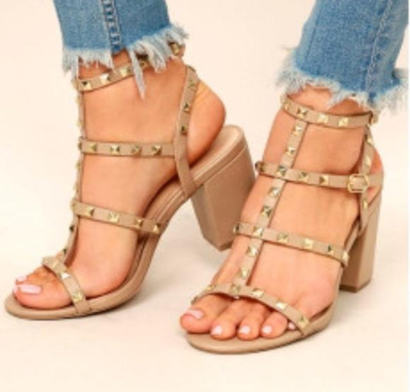 SUSIE-20 Studded Heeled Sandals