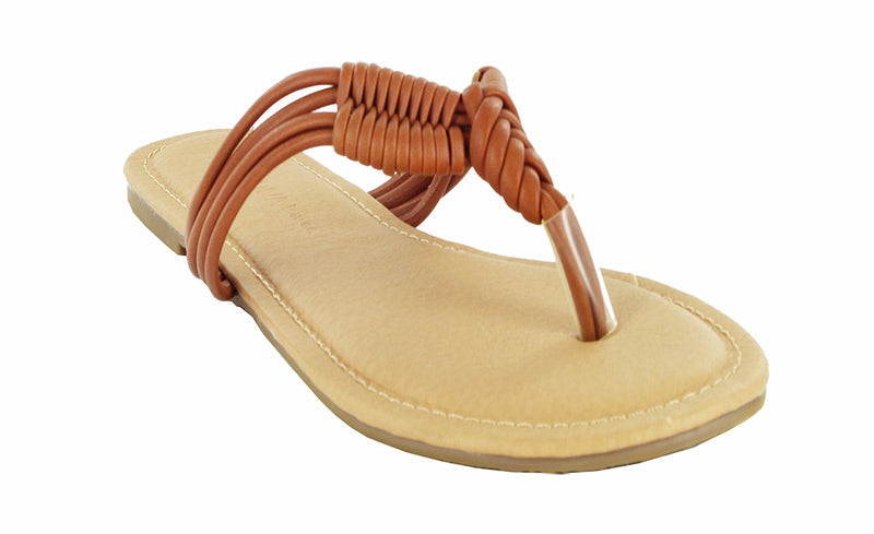TANAYA-259 FAUX LEATHER BRAIDED STRAP FLIP FLOPS
