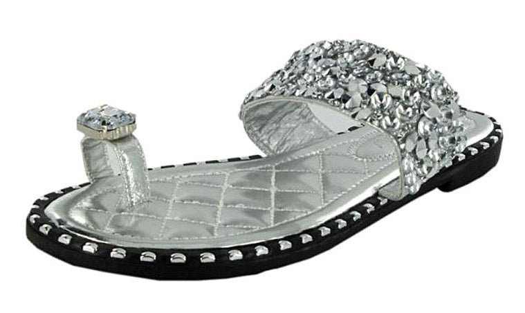TIA-12 SPARKLE METALLIC OPEN TOE FASHION FLAT SANDALS