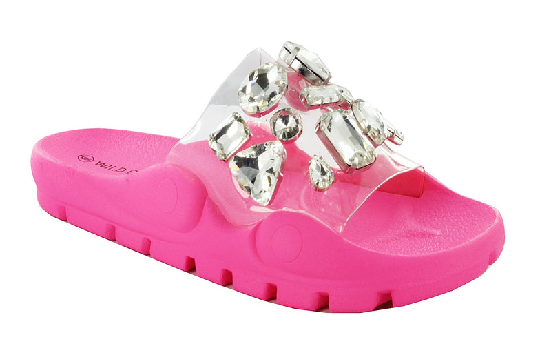 YORK-07 CLEAR RHINESTONE SLIDE SANDALS