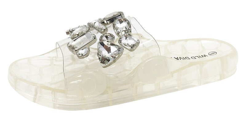 YORKY-01 CLEAR RHINESTONE SLIDE SANDALS