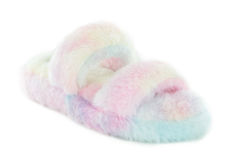 CUDDLES-07 SOFT-COMFY FLUFFY FLIP FLOP FAUX FUR DOUBLE STRAP SLIPPERS SANDALS