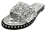 TIA-01 WOMEN'S SPARKLE METALLIC OPEN TOE FASHION FLAT SANDALS SLIP-ON FLIP FLOP