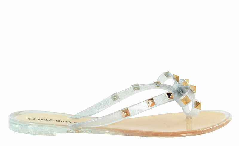 JOANIE-173 LUCITE JELLY SLIDES PYRAMID STUD CLEAR  FLAT SANDALS FLIP FLOPS