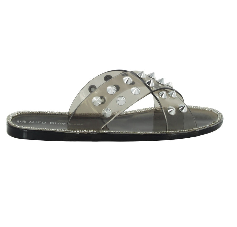 JOANNA-08 STUDDED CRISS CROSS SLIDE SANDALS