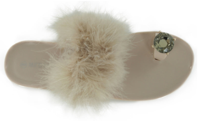 JOLIE-35 FAUX FUR TOE RING SLIPPER SANDALS