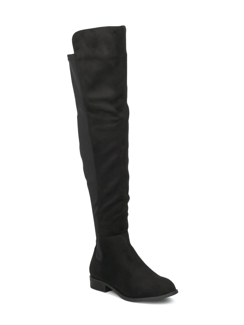 OKSANA-132W2 WIDE FIT FAUX SUEDE KNEE HIGH BOOTS