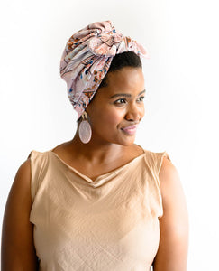 Nude Printed Turban