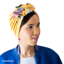 Load image into Gallery viewer, Printed Yellow Turban