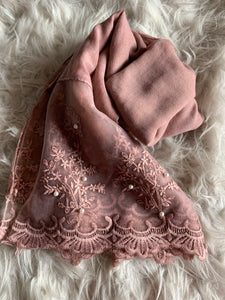 Dusty Pink Organza Floral Lace