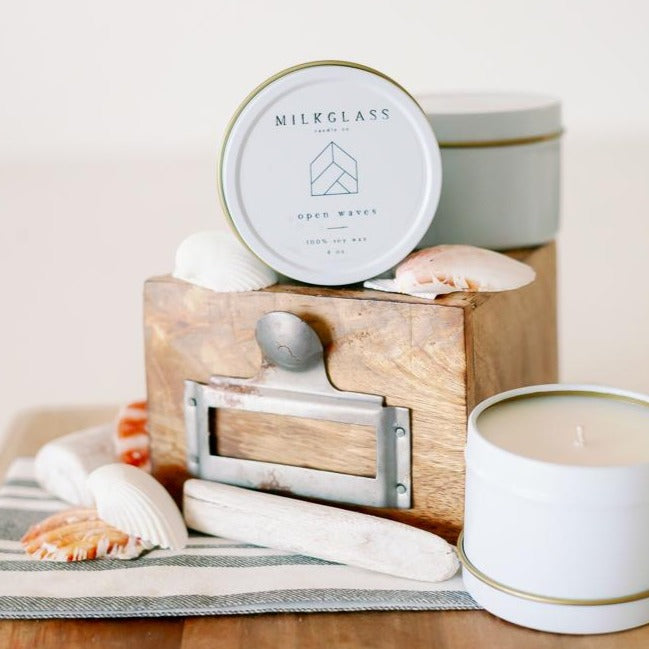 Open Waves 4oz Tin - Milkglass candle