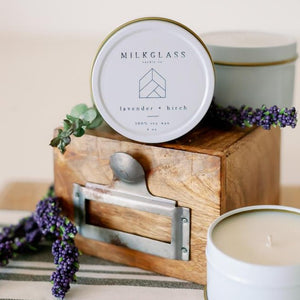 Lavender + Birch 4oz Tin - Milkglass candle
