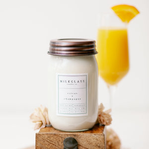 New - Citrus + Champagne - Milkglass candle