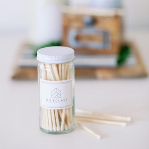 White Tip Matches - Milkglass candle