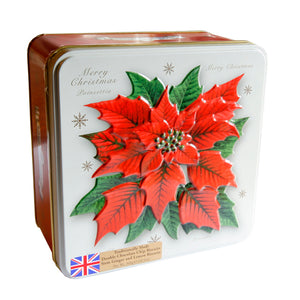 Poinsettia Tin filled with Biscuits