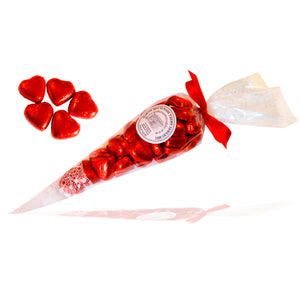 Red Chocolate Hearts in Cone Bag