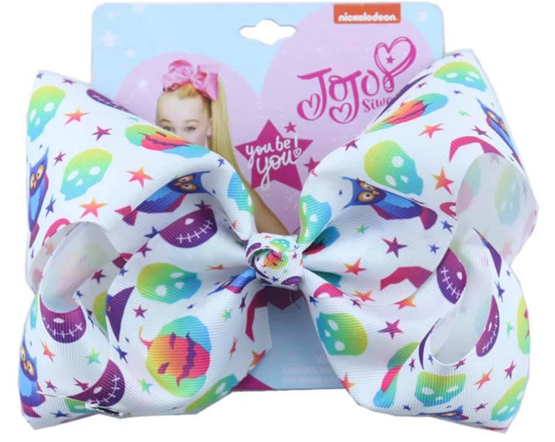"8"" Girls Halloween Bow Neon stars"