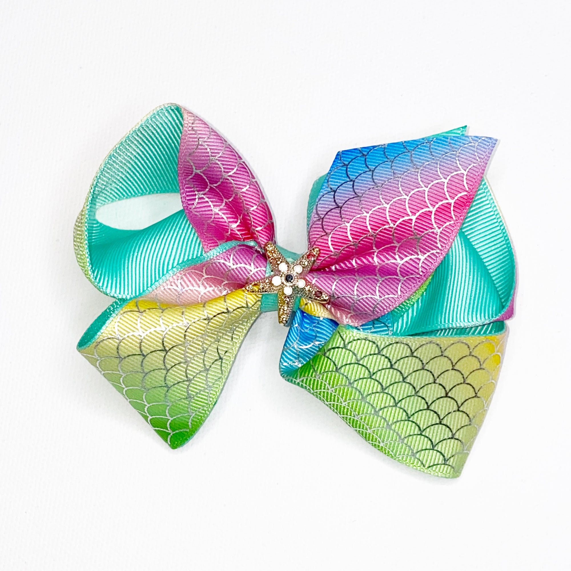 "5"" Mermaid Scale Hair Bow w/clip"