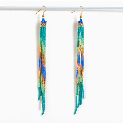 Hands Made Beaded Fringe Duster Earrings
