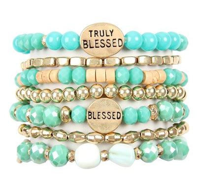Blessed Mixed Bead Bracelet Stack