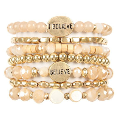 I Believe Charm Mixed Beads Bracelet