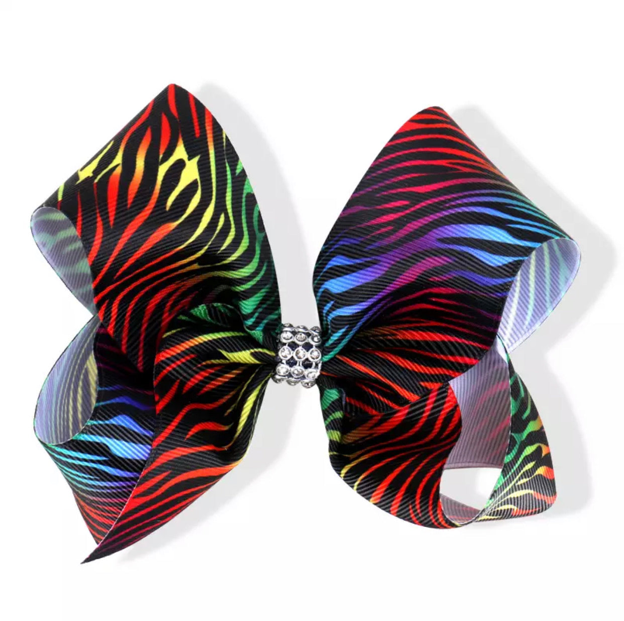 "5"" Rainbow Zebra Hair bow"