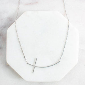 Ciara Curved Cross Necklace