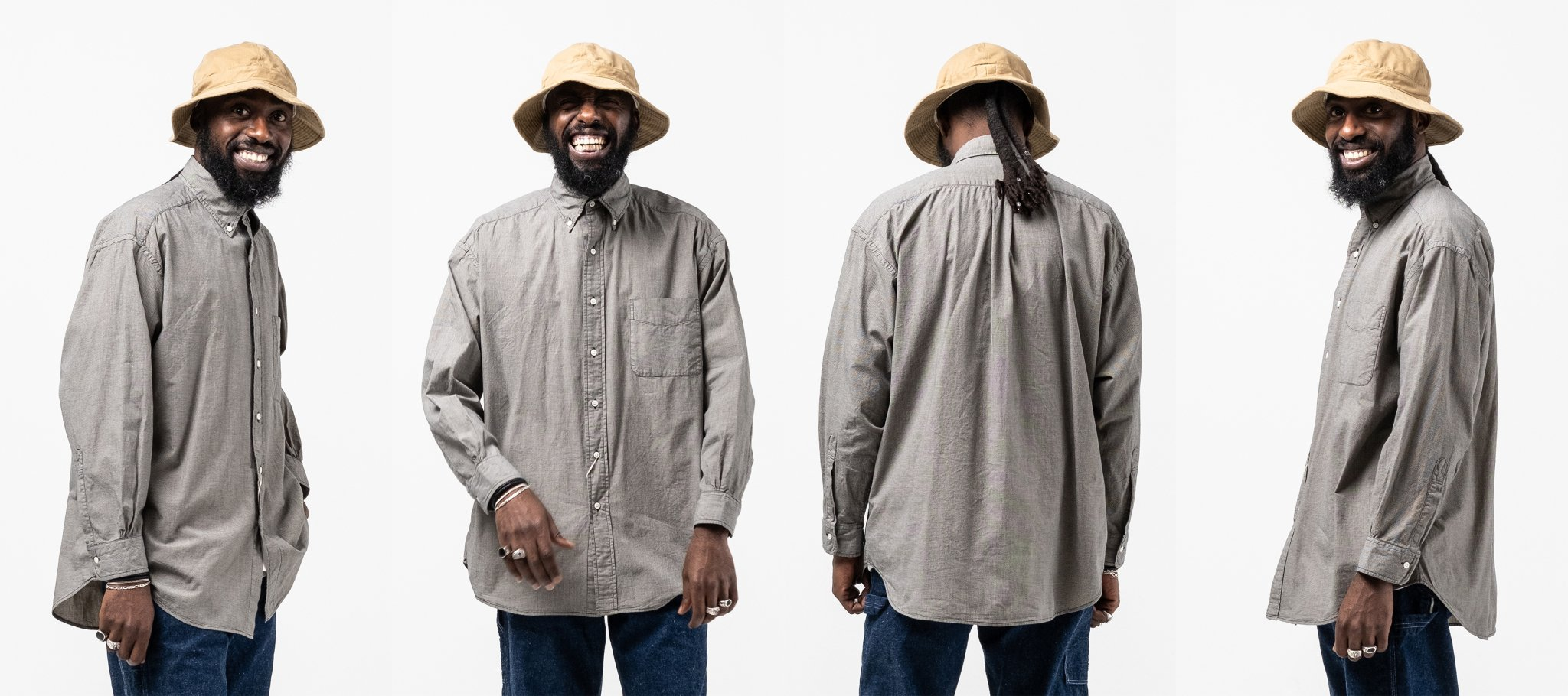 orslow Loose Fit Button Down Shirt Gray Check meadow
