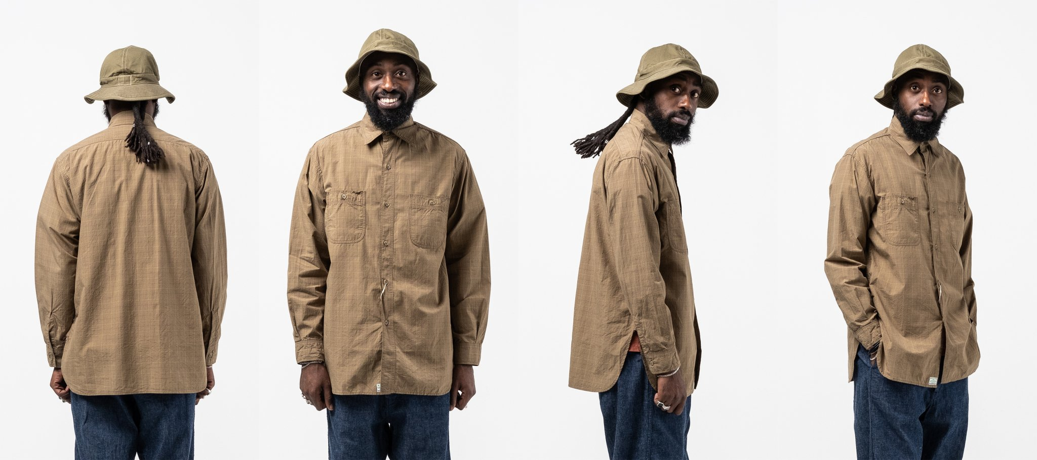 orslow Vintage Fit Work Shirt Green Check meadow