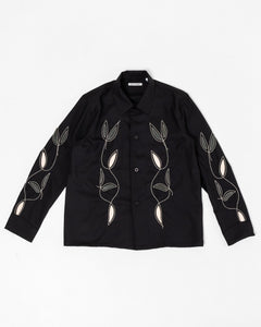 Box Shirt Black Leaf Embroidery - Meadow of Malmö