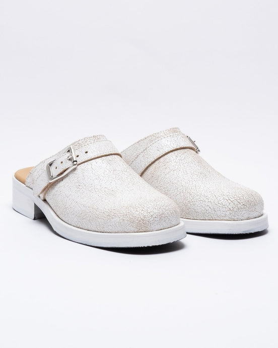 Camion Mule White Coated Suede - Meadow
