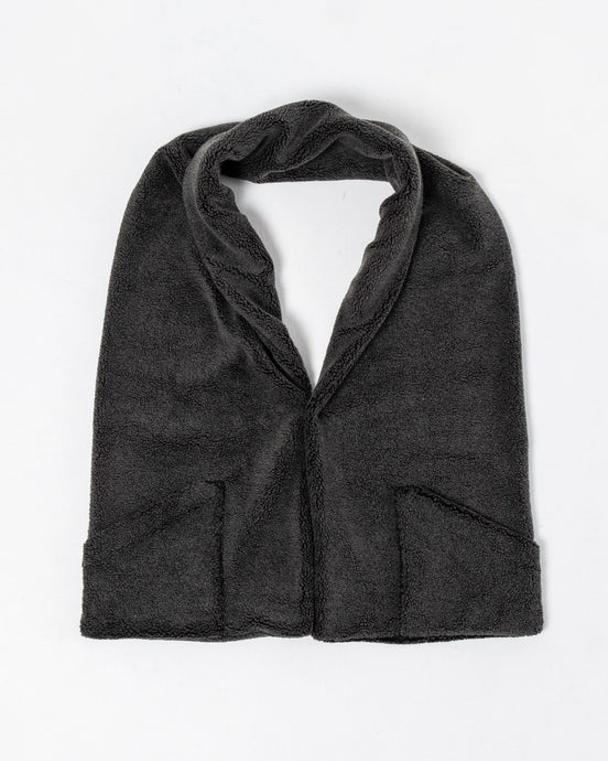 Charcoal Gray Fleece Stole with Pocket - Meadow