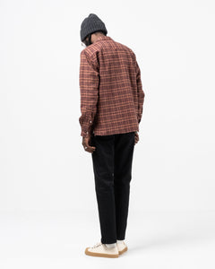 Cotton Tweed Check LS Camp Shirt Red - Meadow of Malmö