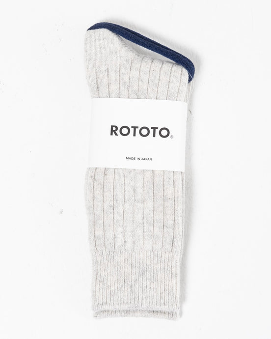 Cotton Wool Ribbed Crew Socks Ash Grey - Meadow of Malmö
