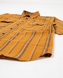 Delray Shirt Cotton Linen Stripe Orange/Brown - Meadow
