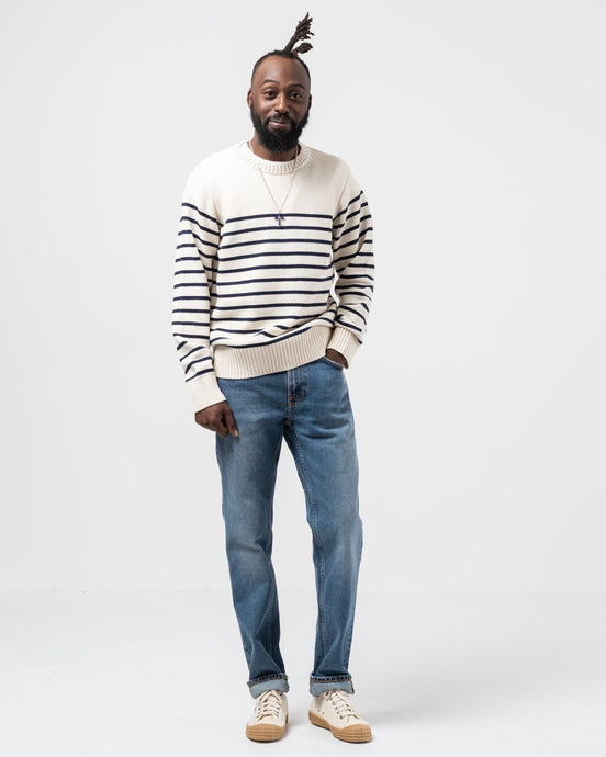 Hampus Recycled Stripe Off White / Navy - Meadow