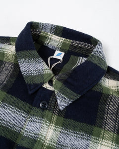 Indigo Check Flannel Work Shirt Green - Meadow