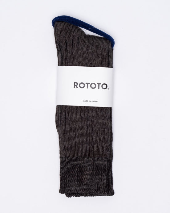 Linen Cotton Ribbed Crew Socks Charcoal - Meadow