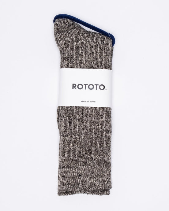 Linen Cotton Ribbed Crew Socks Mix Black - Meadow