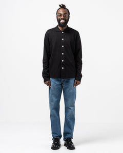 Long Sleeve Placket Polo Black - Meadow of Malmö