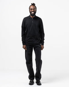 Long Sleeve Two Button Polo Black - Meadow of Malmö